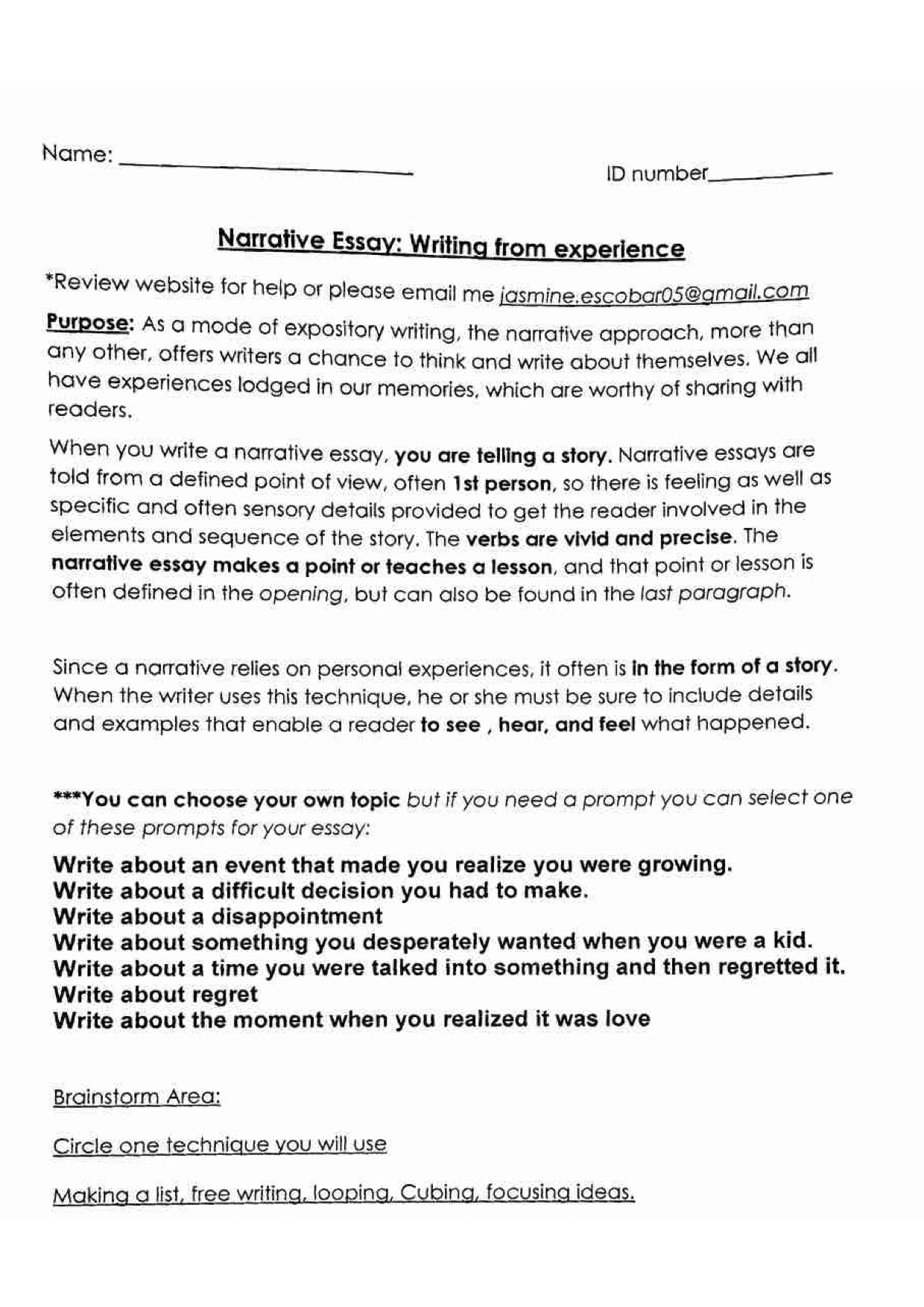 essay narrative story rubric and explanation knu english
